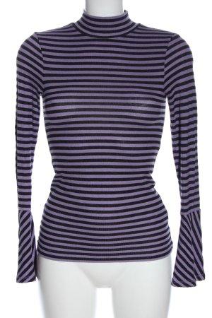 Hallhuber Top à col roulé noir-violet motif rayé style décontracté