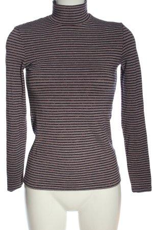 Hallhuber Top à col roulé noir-blanc motif rayé élégant