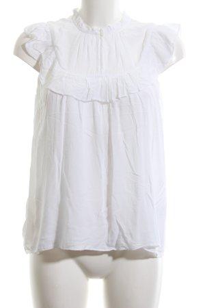 Hallhuber Rüschen-Bluse weiß Casual-Look