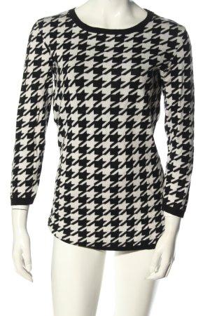 Hallhuber Sweter z okrągłym dekoltem biały-czarny Na całej powierzchni