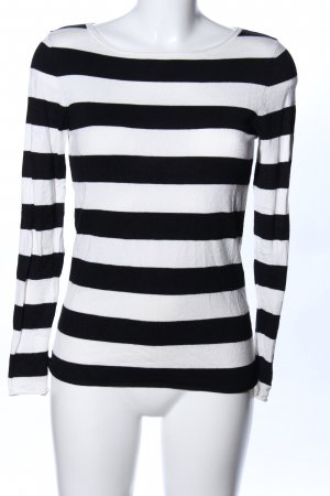 Hallhuber Rundhalspullover schwarz-weiß Streifenmuster Casual-Look