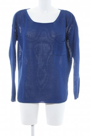 Hallhuber Rundhalspullover blau Webmuster Casual-Look