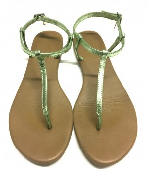 Hallhuber Toe-Post sandals lime-green leather