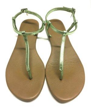 Hallhuber Sandalias con talón descubierto verde claro Cuero