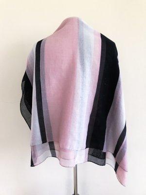 Hallhuber Schal, großer Schal, Streifen, schwarz rosa weiß
