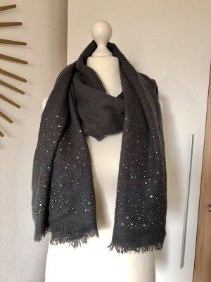 Hallhuber Schal mit Glitzer-Steinen Nieten, dunkelgrau