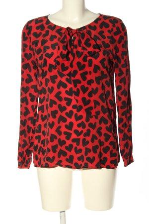 Hallhuber Blusa con lazo rojo-negro estampado repetido sobre toda la superficie