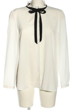 Hallhuber Bluzka z kokardą biały-czarny W stylu casual