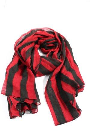 Hallhuber Chusta na ramiona czerwony-czarny Wzór w paski W stylu casual