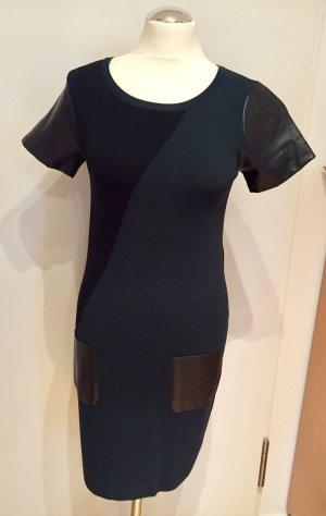 Hallhuber Schwarz-Grünes Stretch Kleid mit Kunstledereinsätzen Gr. M NEU