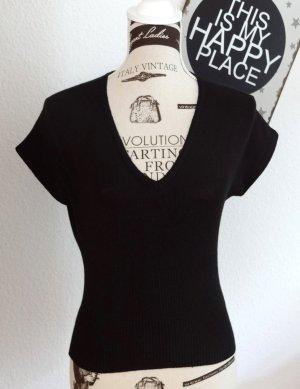 Hallhuber- Schwarzer Kurzpullover, Cropped Shirt - Gr. M