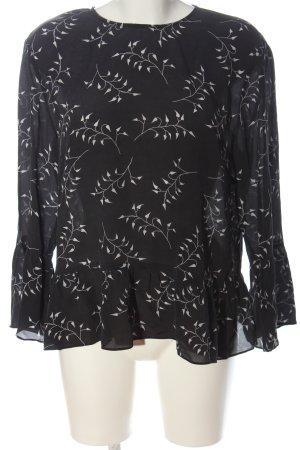 Hallhuber Blusa de seda negro-blanco estampado repetido sobre toda la superficie