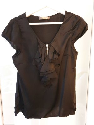 Hallhuber Seidentop - Rüschentop - Shirt Bluse 100% Seide