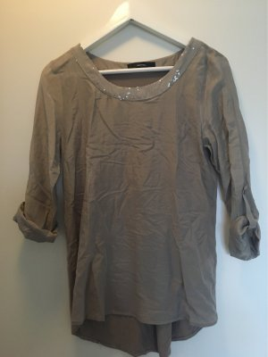 Hallhuber Camisa tipo túnica marrón grisáceo-taupe