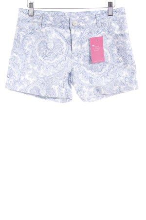 Hallhuber Shorts weiß-hellblau Paisleymuster Casual-Look