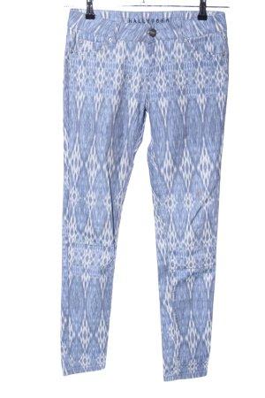 Hallhuber Skinny Jeans weiß-blau abstraktes Muster Casual-Look