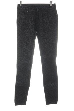 Hallhuber Skinny Jeans schwarz-anthrazit Blumenmuster Casual-Look