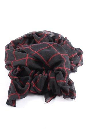 Hallhuber Chal veraniego negro-rojo estampado a cuadros elegante