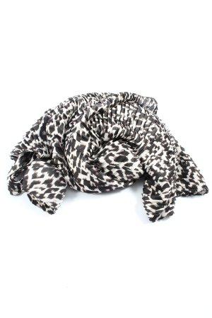 Hallhuber Chal veraniego blanco-marrón estampado de leopardo look casual
