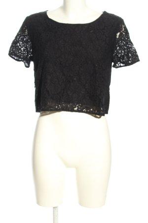 Hallhuber Koronkowa bluzka jasnoszary Wzór w kwiaty W stylu biznesowym