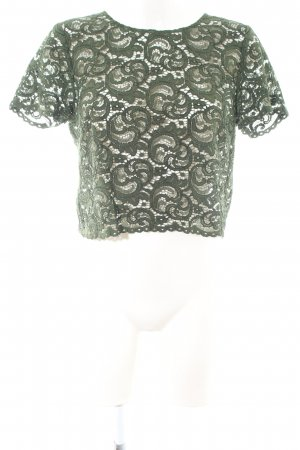 Hallhuber Lace Blouse khaki abstract pattern casual look