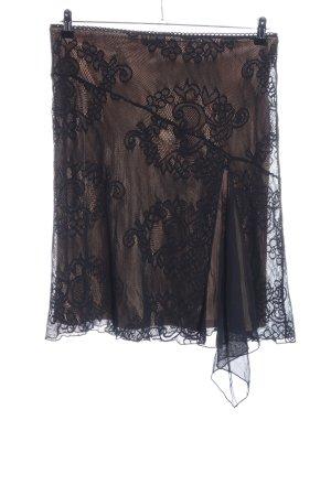 Hallhuber Falda de encaje negro-crema estampado floral look casual