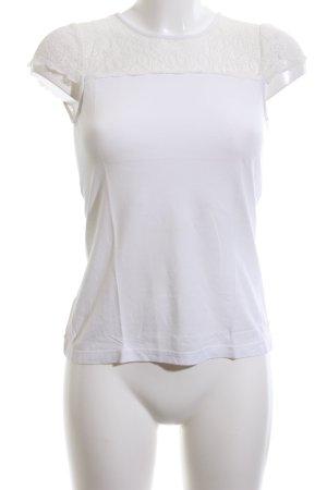 Hallhuber Kanten topje wit casual uitstraling