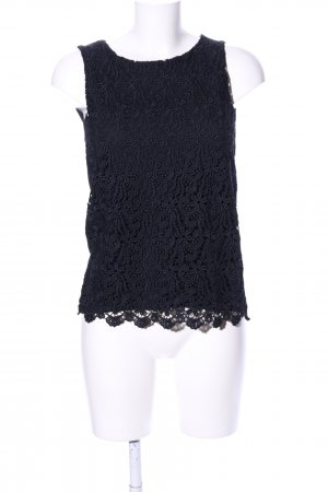 Hallhuber Lace Top black flower pattern business style