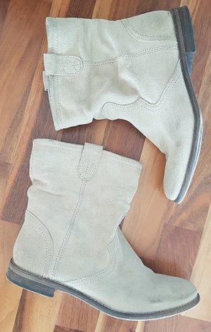 Hallhuber Stiefeletten / Booties aus Wild-Leder, helles beige, Größe 38