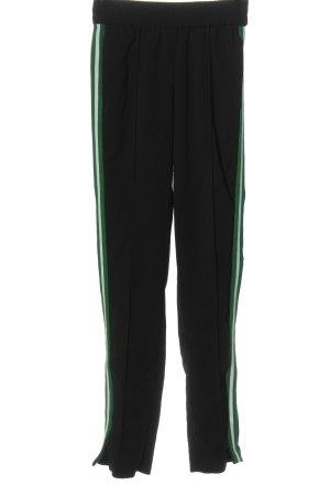 Hallhuber Stoffhose schwarz-grün Streifenmuster Casual-Look