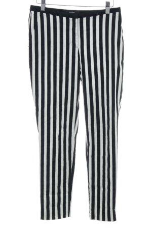 Hallhuber Stoffhose schwarz-weiß Streifenmuster Casual-Look