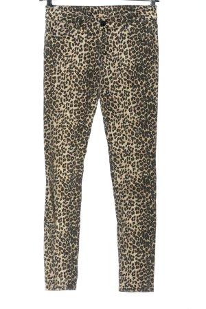 Hallhuber Straight-Leg Jeans wollweiß-braun Allover-Druck Casual-Look