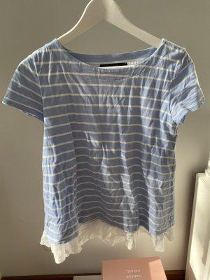 Hallhuber Streifen-Shirt mit Rüsche