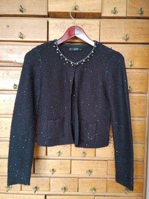 Hallhuber Strickjacke aus edler Wolle mit Perlen, Strass und Pailletten