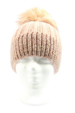 Hallhuber Cappello a maglia color carne-crema puntinato stile casual