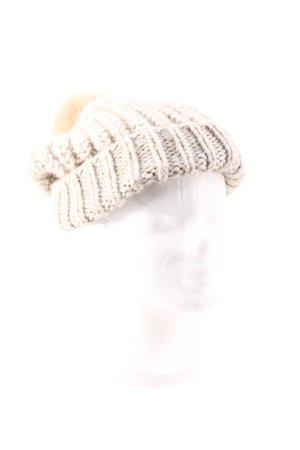 Hallhuber Cappello a maglia beige chiaro pompon