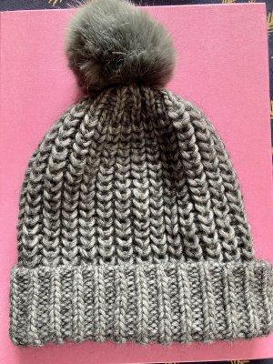 Hallhuber Knitted Hat dark grey alpaca wool