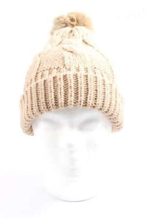 Hallhuber Chapeau en tricot blanc cassé torsades style décontracté
