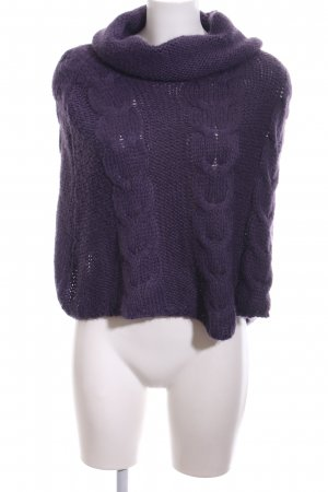Hallhuber Strickponcho lila Zopfmuster Casual-Look