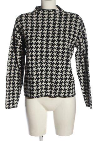 Hallhuber Strickpullover weiß-schwarz abstraktes Muster extravaganter Stil