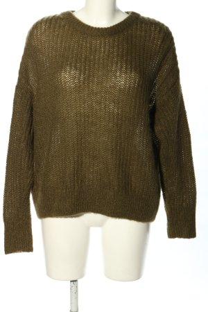 Hallhuber Pull tricoté vert olive moucheté style décontracté