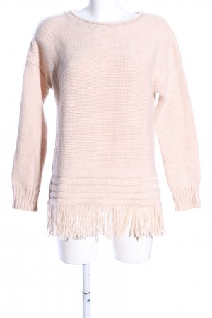 Hallhuber Strickpullover creme Zopfmuster Casual-Look