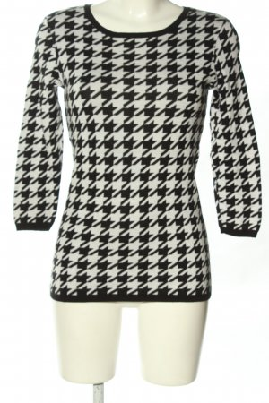 Hallhuber Strickpullover weiß-schwarz abstraktes Muster Casual-Look