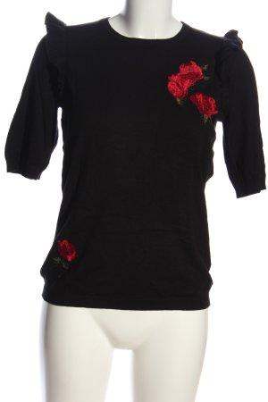 Hallhuber Strickshirt schwarz-rot Schriftzug gestickt Casual-Look
