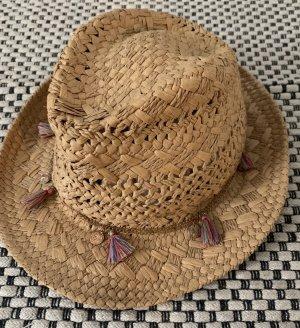 Hallhuber Chapeau de paille brun sable-rouge framboise