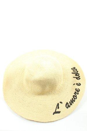 Hallhuber Chapeau de paille crème lettrage brodé style décontracté