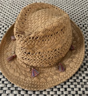 Hallhuber Straw Hat sand brown-raspberry-red