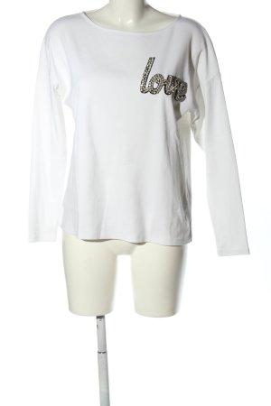 Hallhuber Sweatshirt weiß Schriftzug gedruckt Casual-Look