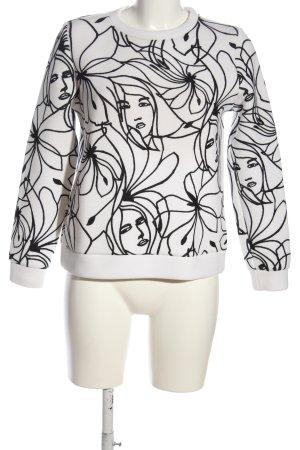 Hallhuber Sweatshirt weiß-schwarz Allover-Druck Casual-Look