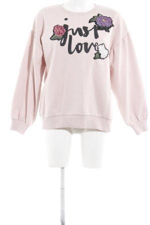 Hallhuber Sweatshirt altrosa Schriftzug gedruckt Casual-Look